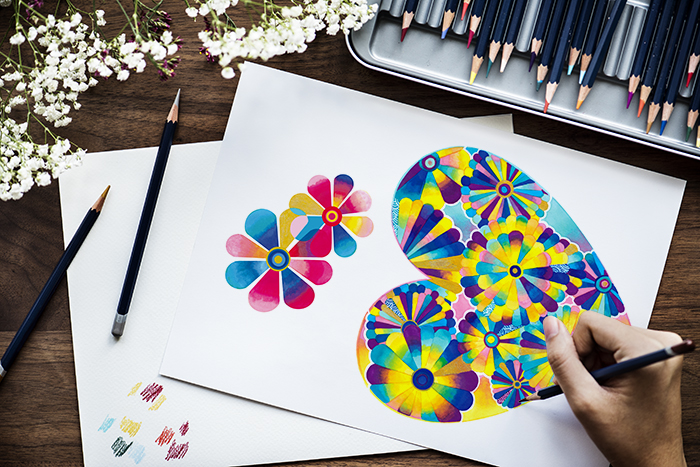 Illustrationist workspace concept with copy space